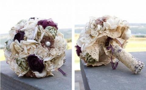 Bouquet da sposa rifinito in pizzo