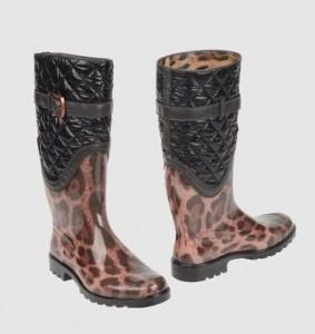 Stivali da pioggia in pvc animalier di Dolce & Gabbana