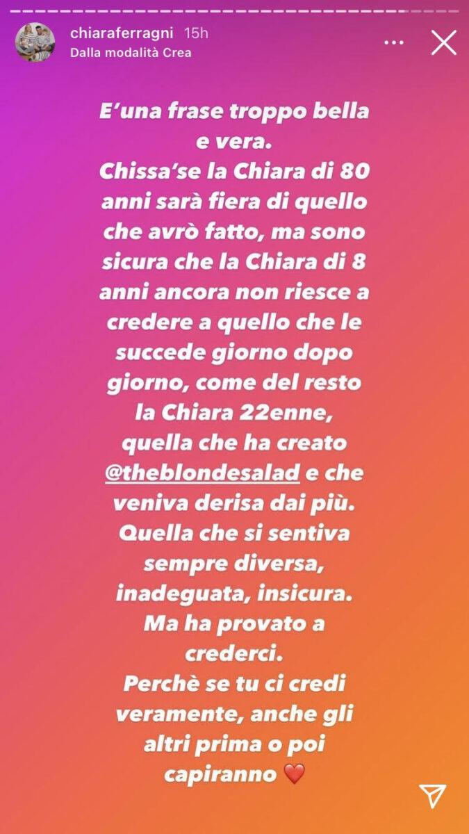 18:15 – Chiara Ferragni si commuove e ringrazia i followers per il sostegno