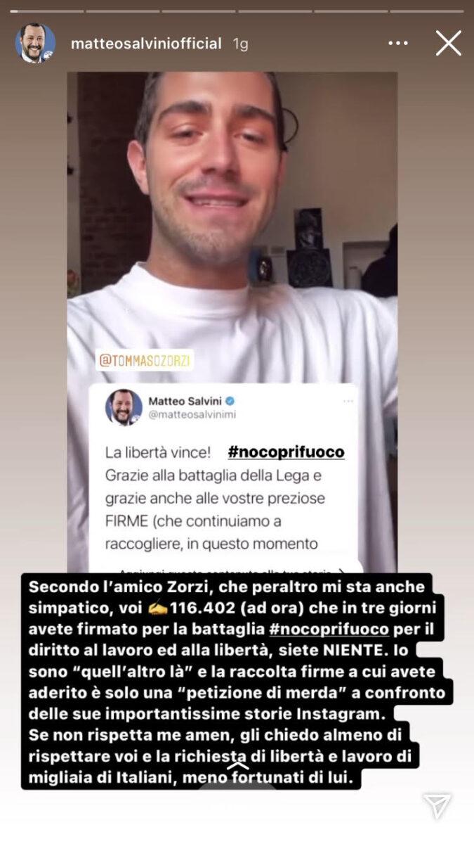 19:00 – Ddl Zan: botta e risposta social tra Tommaso Zorzi e Matteo Salvini