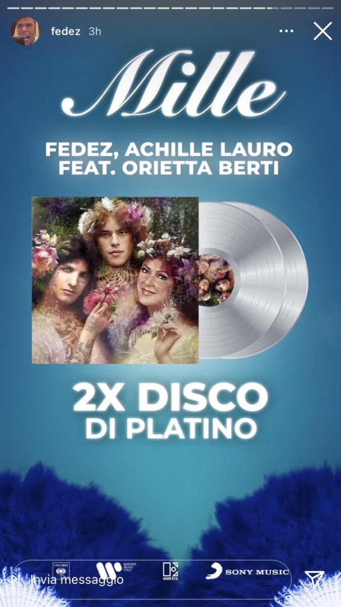 21:00 – Fedez: Mille è al secondo disco di platino