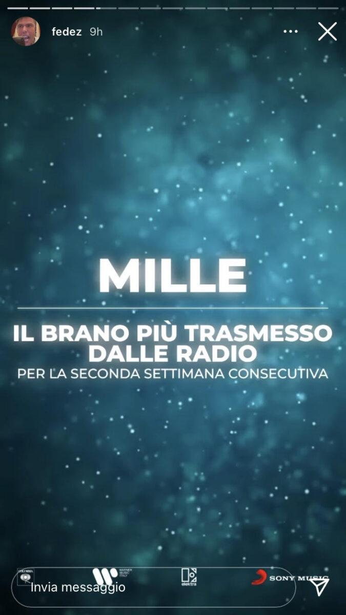 21:00 – Fedez: Mille è il brano più trasmesso dalle radio
